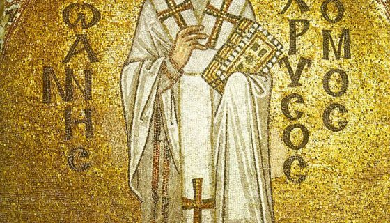 A Byzantine mosaic of John Chrysostom from the Hagia Sophia