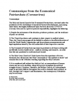Patriarchal Communique on coronavirus